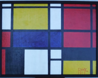 Composition 854 FREE SHIPPING Framed Original Acrylics Painting 18X24 canvas