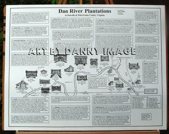 DAN RIVER PLANTATIONS Poster Danville Virginia area Sketches History Info 22x17 inches