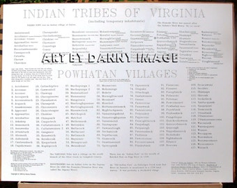 INDIAN TRIBES of VIRGINIA Poster 80 tribes 127 Powhatan villages 22x17 inches