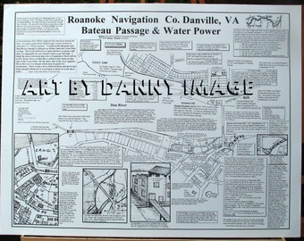 BATEAU ROANOKE NAVIGATION Poster Canals History Danville Virginia 22x17 inches