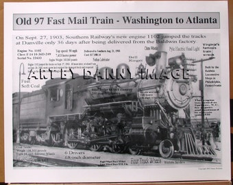 OLD 97 Fast MAIL TRAIN Poster 1903 wreck song 20x16 inches Locomotive