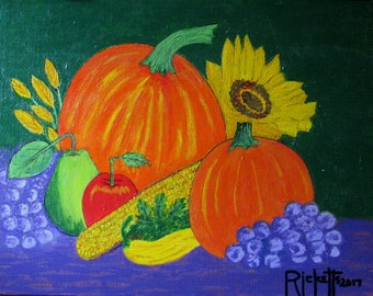 Autumn Still Life Original Acrylics Painting Framed FREE SHIPPING 11x14 No. 787
