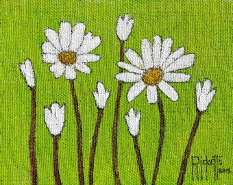 White FLOWERS On GREEN Original Acrylic Painting Free Shipping 18x15 No. 591
