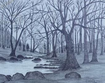 Winter At The Creek Framed Original Pen & Ink FREE SHIPPING 14x18 No.800
