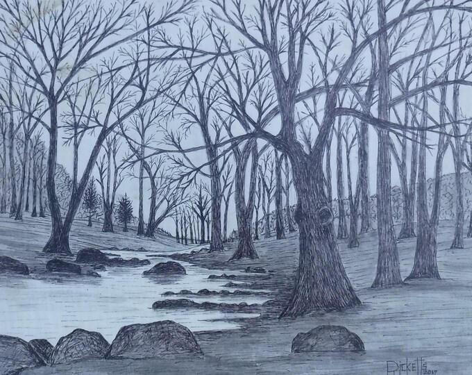 Featured listing image: Winter At The Creek Framed Original Pen & Ink FREE SHIPPING 14x18 No.800