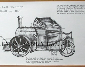 RICKETT STEAMER Poster 1858 Limited Signed Steam Car 17x11 inches
