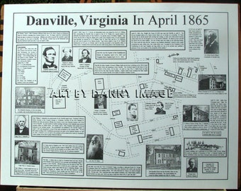 "Civil War Poster ""Danville VA in April 1865"" Last Capital 22x11 inches"