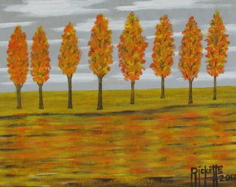 Autumn Maples Original Acrylic Painting FREE SHIPPING 20X16 Framed No. 759