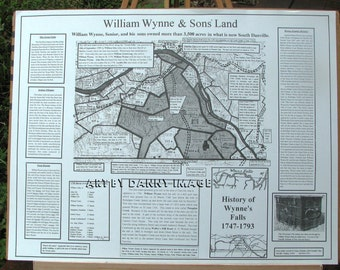 William Wynne & Sons Land POSTER 1754 Wynne's Falls Danville Virginia 22x17