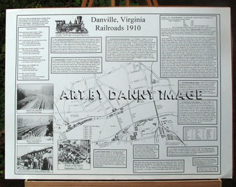 RAILROADS 1910  Poster DANVILLE VIRGINIA Wreck of the Old 97 22x17 inches