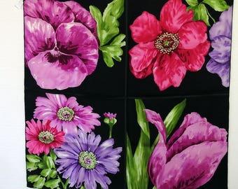 Vintage des années 90 foulard en soie très Fine qualité travail belle  représentations pictural de la pensée, Marguerite, tulipe et anémone Warhol  Style Exc ... 8581e3ef976