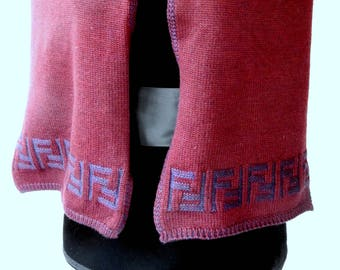 Vintage FENDI Wool  Winter Scarf Foulard Muffler Grape and Purple Handknit Traditional Classic Couture Fabulous