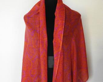 c08a72b51390 Pashmina vintage des années 90 châle Wrap écharpe laine Challis Hot Pink  Paisley Orange excellente qualité