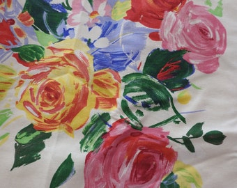 """Delightful and Painterly Floral Cotton Upholstery Fabric by Cyrus Clark """"Rianna"""" Red Blue Yellow Flowers Roses"""