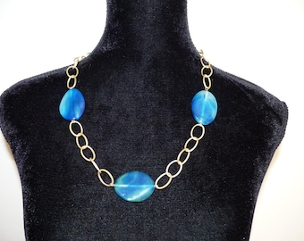 Heavenly Blue Agate Gemstone Slab Beads with Brushed Gold Chain Necklace