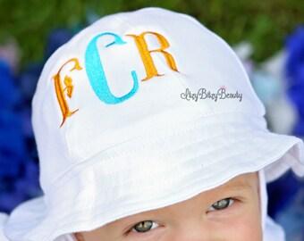 Embroidered Sun Hat - Bucket Hat - Monogrammed Baby Hat - Summer Hat - Monogram Sun Hat