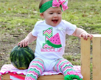 08affa114 Girls Watermelon Birthday Outfit - ANY AGE - Watermelon First Birthday -  Leg Warmers , Headband , - Pink And Green - Personalized - Set