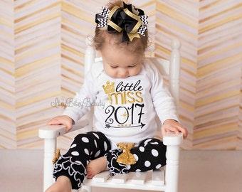 Little miss 2018 - Girls New Year Outfit - M First New Year Shirt - Girls Black Gold Chevron Hair Bow Leg Warmers