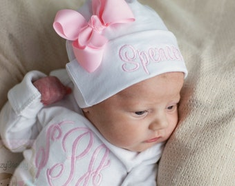 Newborn Girls Hospital Hat - Bow Hospital Hat- Monogrammed Hat - Baby Hat  -Embroidered Personalized Hat - Custom Name - ANY COLORS - Pink eaea8d7ca714