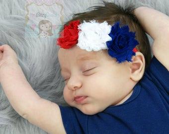 Red White And Blue - Chiffon Flower Headband - Fourth 4th Of July - Baby Girl Patriotic - Newborn Headband