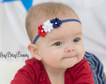 Patriotic Flower Headband Newborn Baby Girls Red White And Blue Hair Accessory