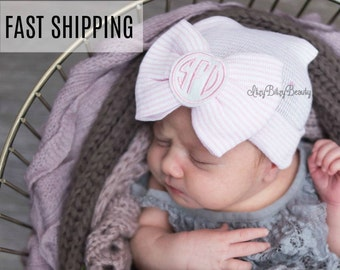cd8e545eb18 Newborn Baby Girls Hat - Monogrammed Hospital Hat - Personalized Custom  Name - Baby Shower Gift - Large Pink Bow Hat - Monogrammed Girls