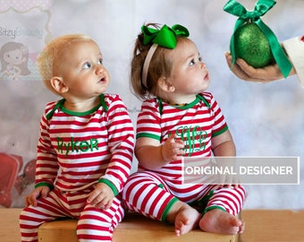 personalized christmas pajamas embroidered personalized pajama boy or girl red and white stripes full piece infant pajama baby - Etsy Christmas Pajamas