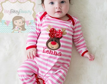 pink reindeer christmas pajamas pink and red stripes girls christmas romper embroidered personalized monogram newborn baby