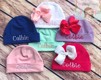 0adab6c0ccc Newborn Girls Bow Hospital Hat- Monogrammed Hat - Baby Girls Hat  -Embroidered Personalized Hat - Coming Home Hat