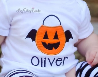 Boys Halloween Shirt - Embroidered Halloween Bodysuit - Jack-o-lantern Shirt - Boys Pumpkin Shirt - My First Halloween - Baby Bodysuit