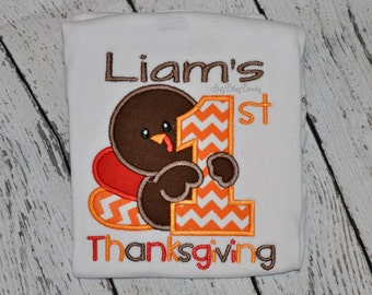 Boys Girls First Thanksgiving Shirt Or Bodysuit - My First Thanksgiving - Personalized Embroidered Shirt - Boys Girls Turkey Day Shirt