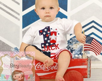 Boys First Birthday July Patriotic Shirt - Fourth Of July Short Outfit - Fireworks , Firecracker - Red White And Blue - Birthday