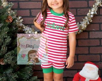 Embroidered Christmas Pajamas - Short Sleeve Pajamas - Shorts Christmas Pajamas - Girls And Boys Pajamas
