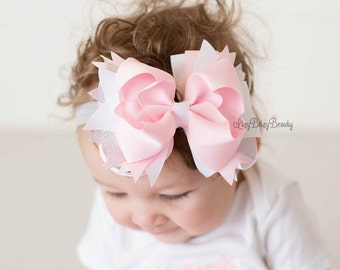 Pink And White Girls Hair Bow - OTT layered Bow - Pink And White - Stacked - Hair Clip - Birthday