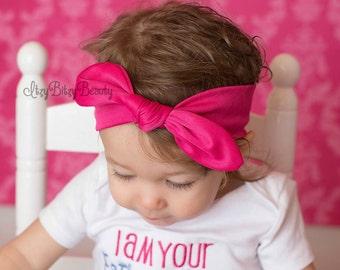 Pink Turban Headband - Girls Pink Turban - Headband - Solid Color - Bow Knot - Headband Girls Hair Accessory