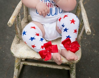 Fourth of July Leg Warmers - Patriotic Leg Warmers - Red , White And Blue Stars - Red Bows