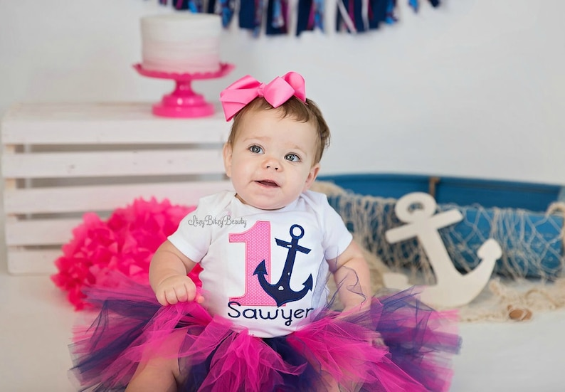 Girls First Birthday Outfit Baby Girls First Girls Anchor Birthday Outfit Girls Anchor Pink Navy Shirt Personalized Birthday Shirt