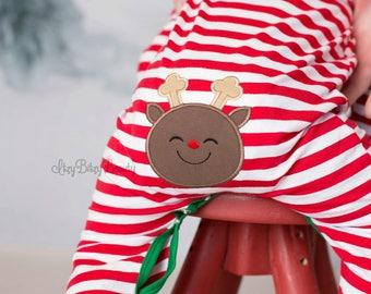 Reindeer Bottom - ADD ON ONLY - Christmas Pajama - Reindeer Applique - Girls - Boys