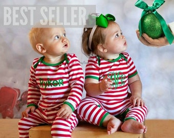 Girl or Boy Christmas Pajamas - Embroidered , Personalized , Custom Name - Red And White Stipe - Full Piece Infant Pajama - Full Romper