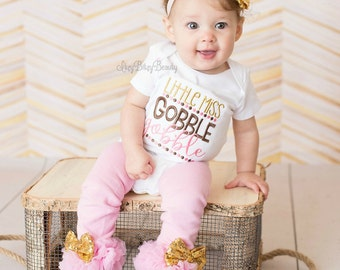 Girls Thanksgiving Outfit - Little Miss Gobble Gobble - Pink And Gold Thanksgiving Shirt Or Bodysuit - Turkey Day Outfit - Leg Warmers , Bow