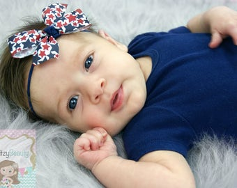 Red White And Blue Fourth 4th Of July Baby Girls Newborn Headband Stars Patriotic
