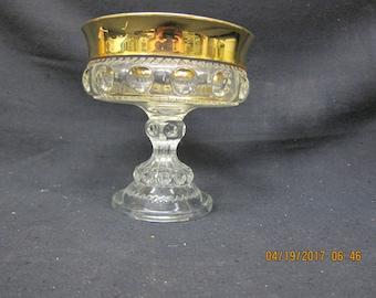 Gold Rim Pedestal Dish/Bowl