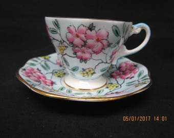 """Foley English Bone China """"Springdale"""" Cup and Saucer"""