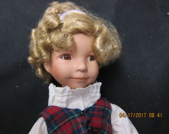 Porcelain 14 inch Doll Plaid Jumper