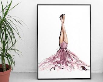 Fashion Wall Art,Fashion Illustration,Fashion Prints,Fashion Poster,Fashion Art,Pink Wall Art,Vogue Wall Art,Vogue Print,Vogue Watercolor