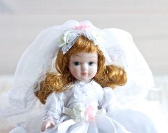 Little Bride Doll - Porcelain First Communion Costume Doll - vintage Altered Arts Assemblage