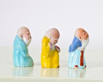Miniature Chinese MudMen - Set of 3 - Porcelain Figure - Altered Arts assemblage
