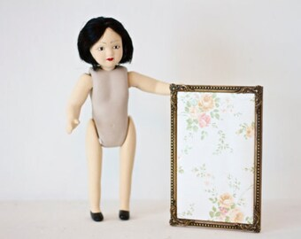 Little Miss bob Hair - Porcelain Doll - Altered Arts Assemblage