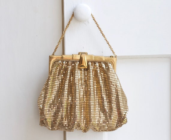 Art Deco Gold Purse - Chainmail Evening Handbag by