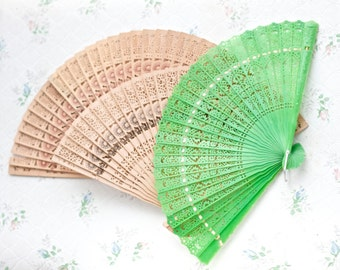Wooden Hand Fans and Plastic Green Fan - Instant Collection of 3
